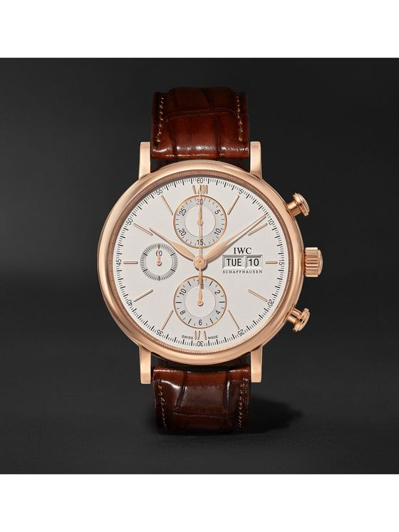 IWC SCHAFFHAUSEN Portofino Automatic Chronograph 42mm 18-Karat Gold and Alligator Watch