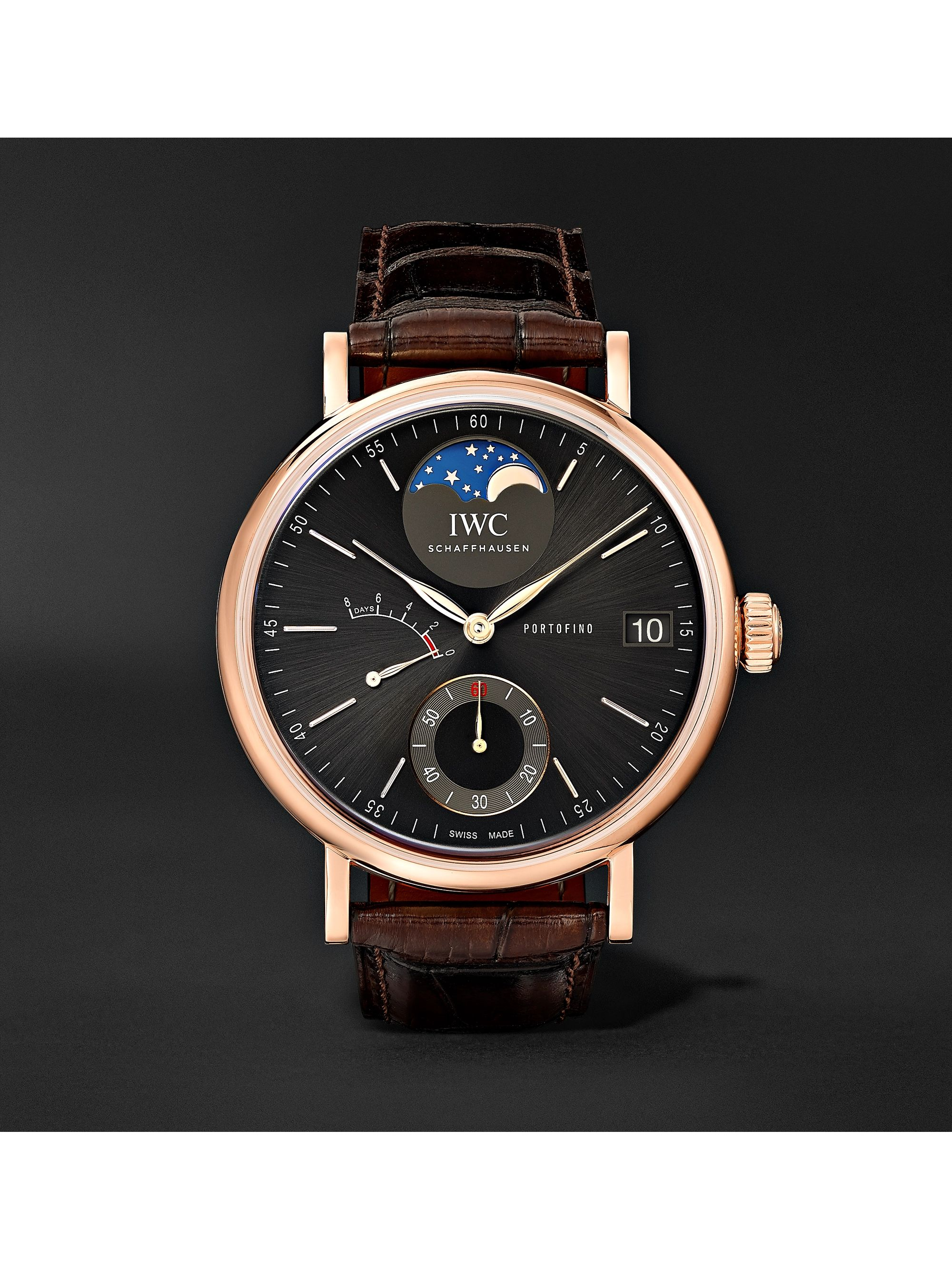 IWC SCHAFFHAUSEN Portofino Hand-Wound Moon Phase 45mm 18-Karat Red Gold and Alligator Watch