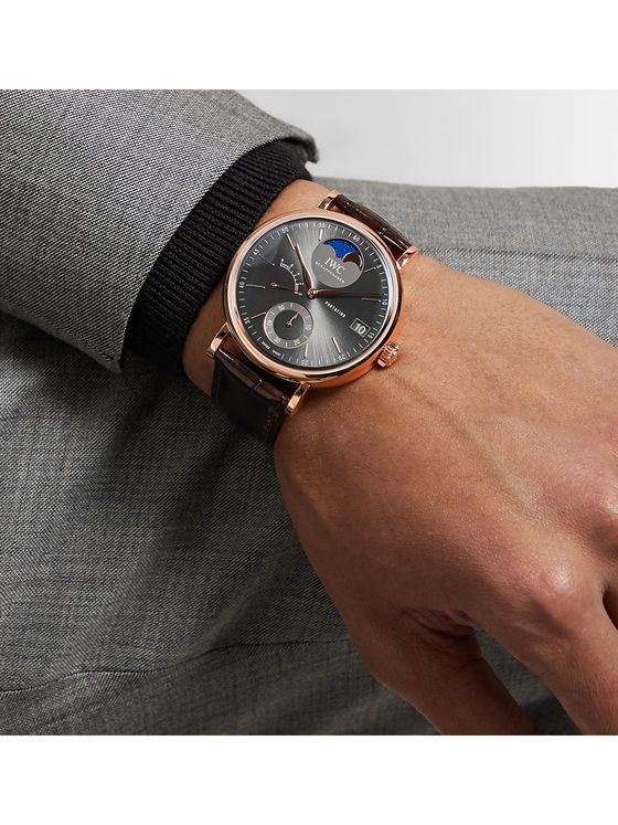 IWC SCHAFFHAUSEN Portofino Hand-Wound Moon Phase 45mm 18-Karat Rose Gold and Alligator Watch, Ref. No. IW516403