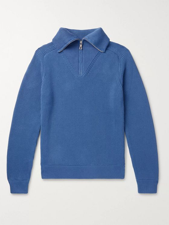 Mr P. Ribbed Cotton Half-Zip Sweater