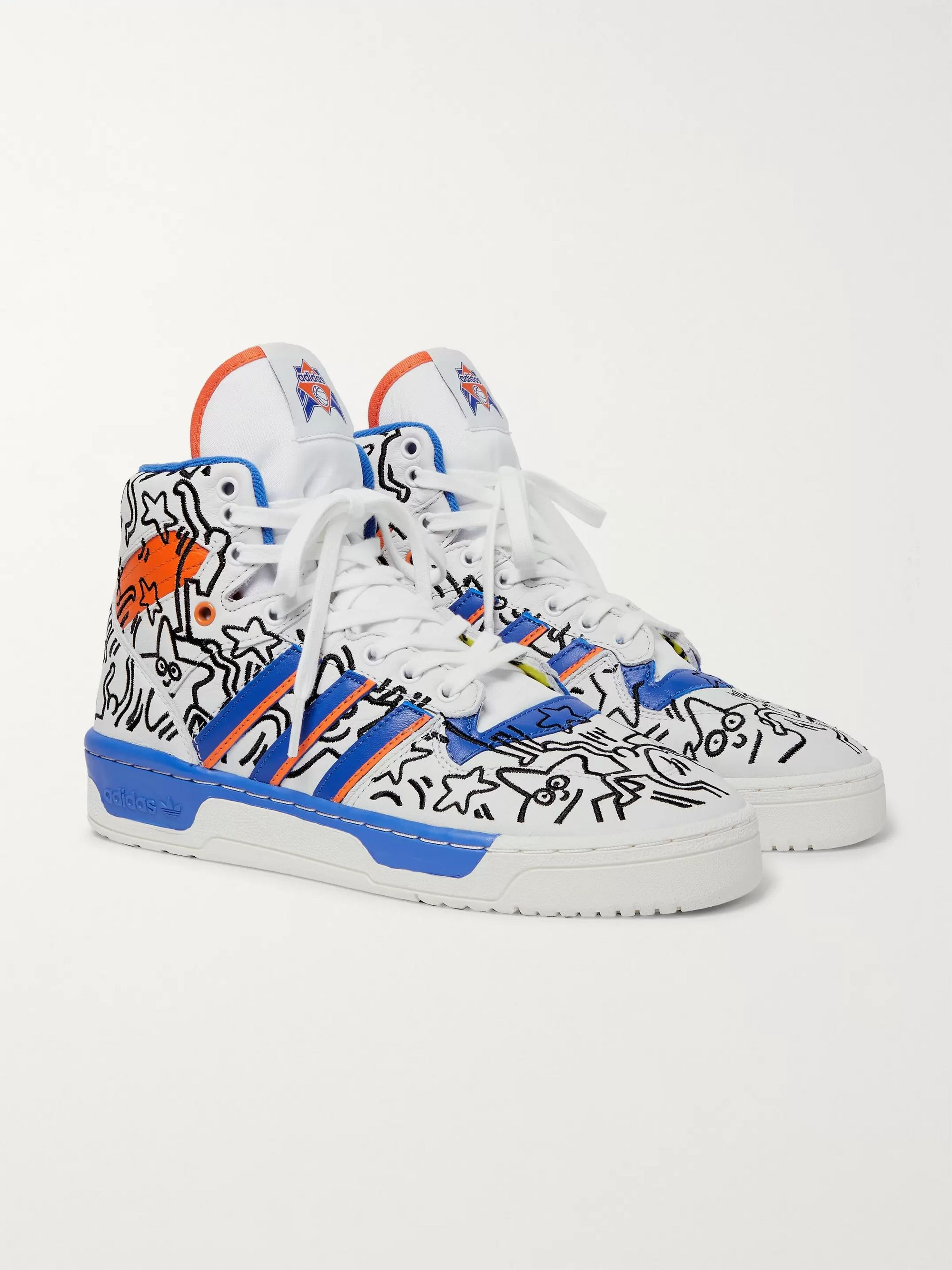 cute cheap get online new appearance + Keith Haring Rivalry Embroidered Leather High-Top Sneakers