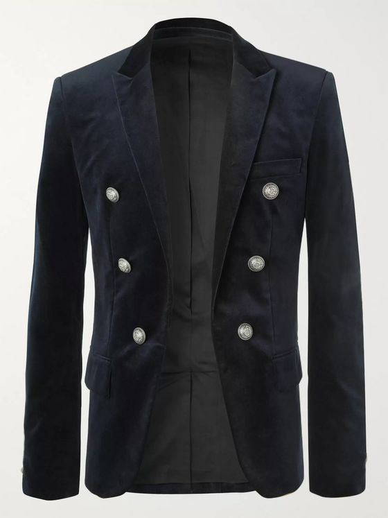 Balmain Black Slim-Fit Cotton-Velvet Blazer