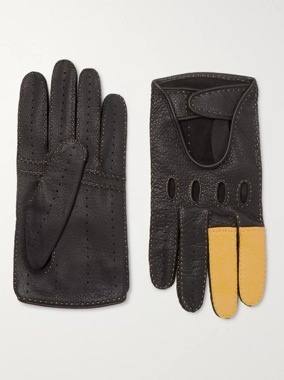 Connolly + Goodwood Full-Grain Leather Driving Gloves
