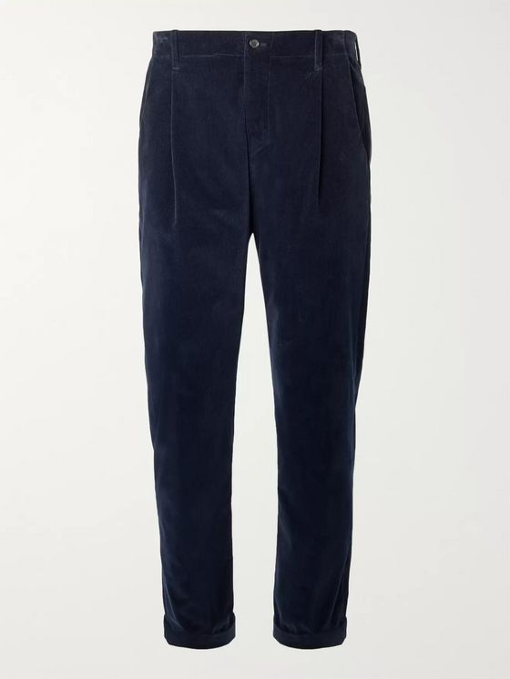 Connolly + Goodwood Tapered Cropped Pleated Cotton-Corduroy Trousers
