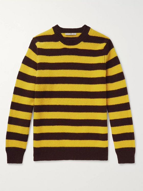 Connolly + Goodwood Striped Mélange Shetland Wool and Cashmere-Blend Sweater