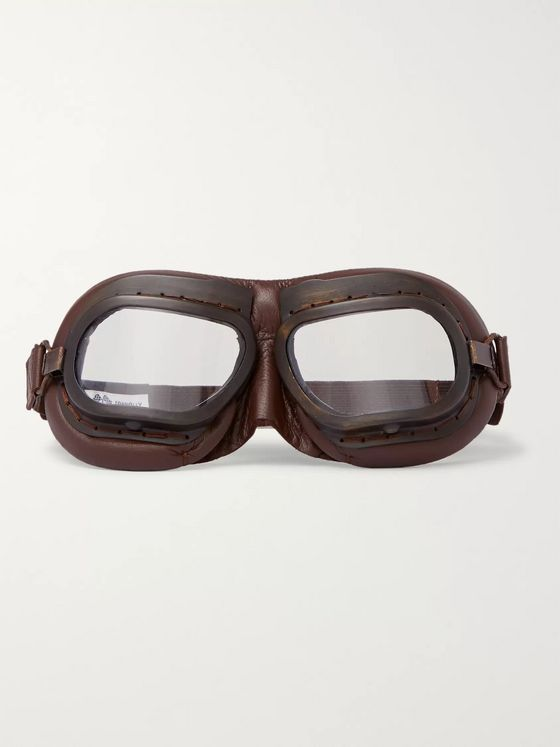 Connolly + Goodwood Leather and Brass Driving Goggles