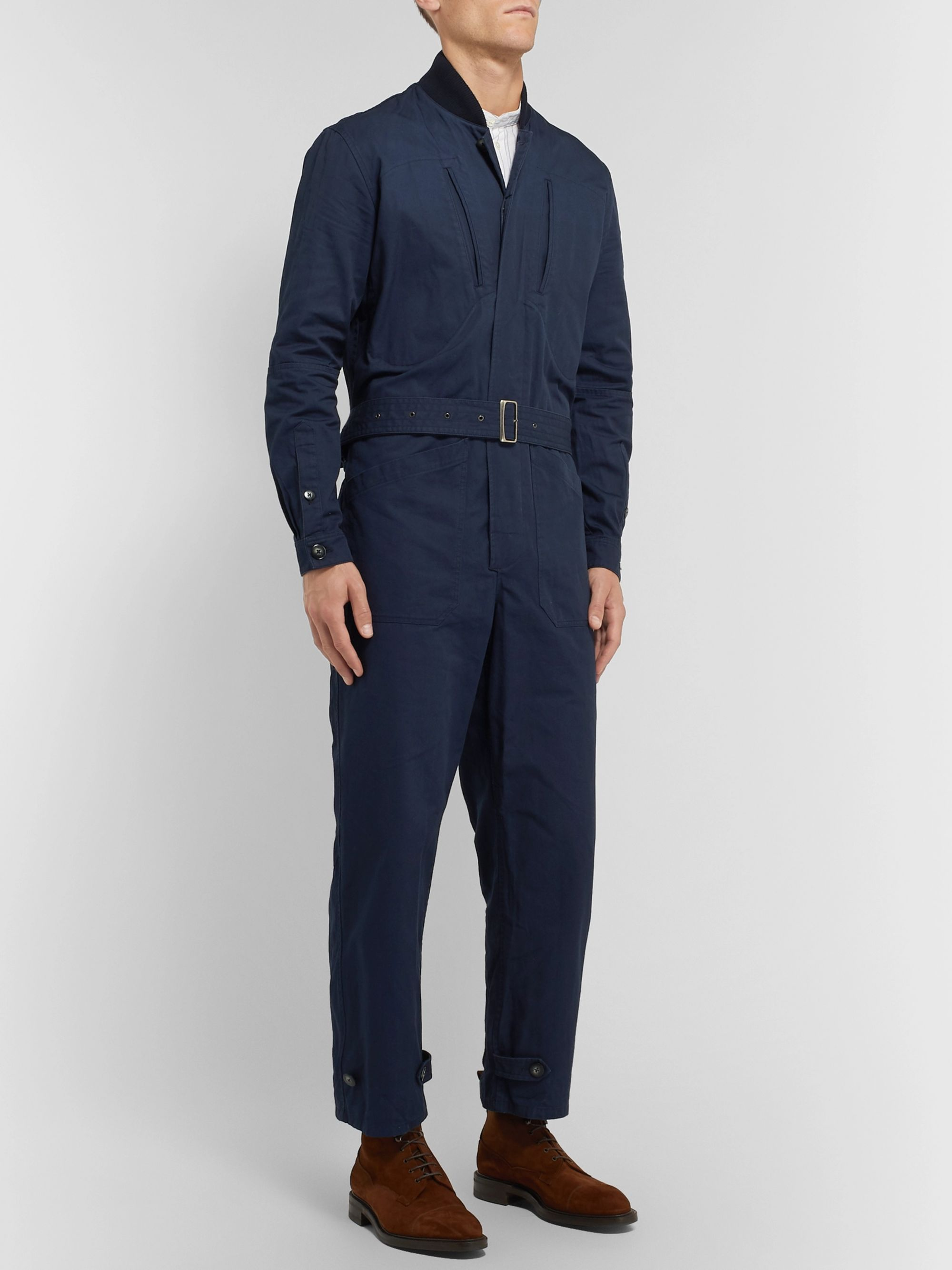 Connolly + Goodwood Belted Cotton-Gabardine Overalls