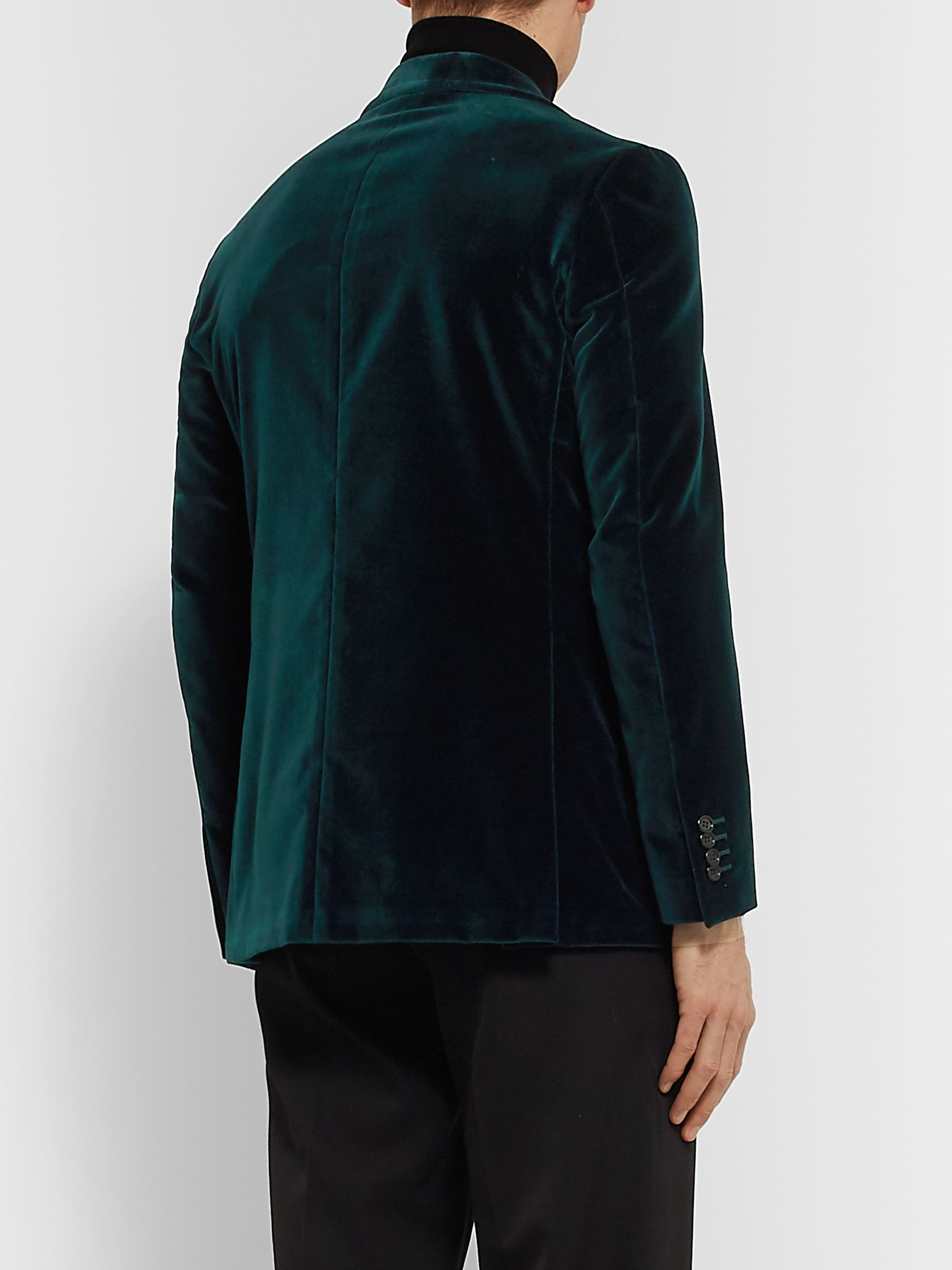 Canali Petrol Kei Slim-Fit Cotton-Velvet Blazer