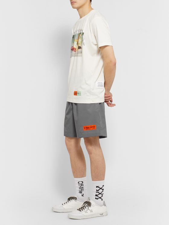 Heron Preston Wide-Leg Belted Reflective Shell Shorts