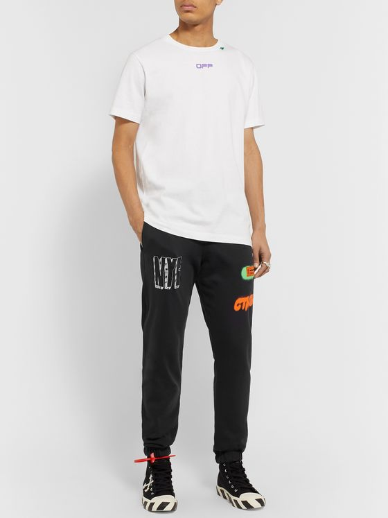 Heron Preston Tapered Printed Organic Loopback Cotton-Jersey Drawstring Track Pants