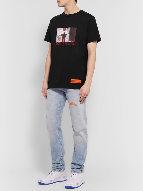 Heron Preston Slim-Fit Embroidered Printed Organic Cotton-Jersey T-Shirt