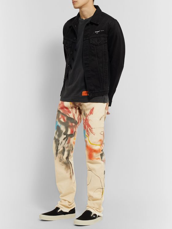 Heron Preston Slim-Fit Printed Denim Jeans
