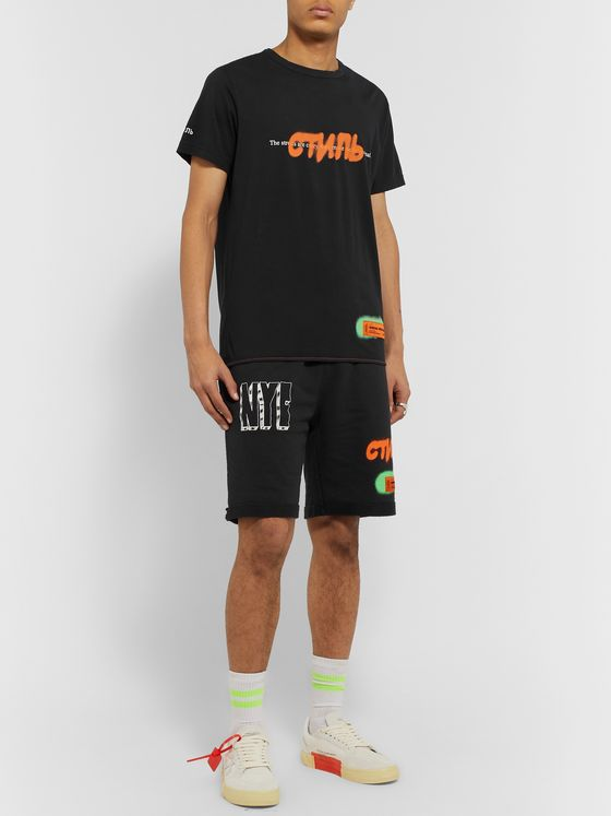 Heron Preston Printed Organic Loopback Cotton-Jersey Drawstring Shorts