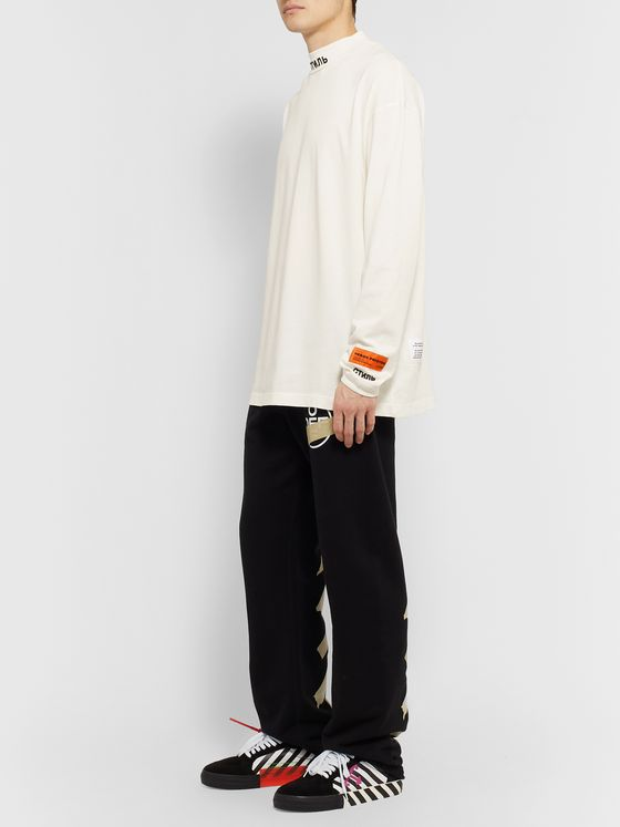 Heron Preston Logo-Embroidered Organic Cotton-Jersey Mock-Neck T-Shirt
