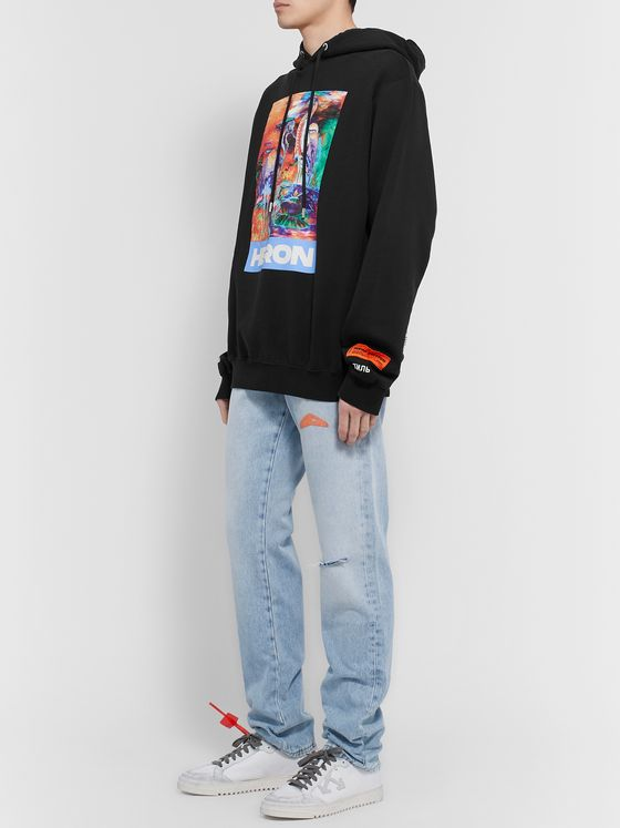 Heron Preston Embroidered Printed Organic Loopback Cotton-Jersey Hoodie