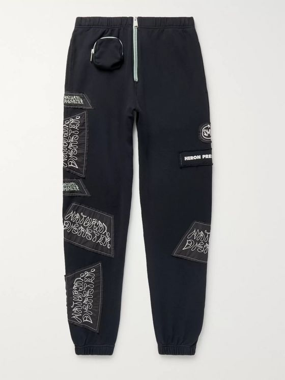 Heron Preston Slim-Fit Tapered Logo-Appliquéd Cotton-Jersey Sweatpants