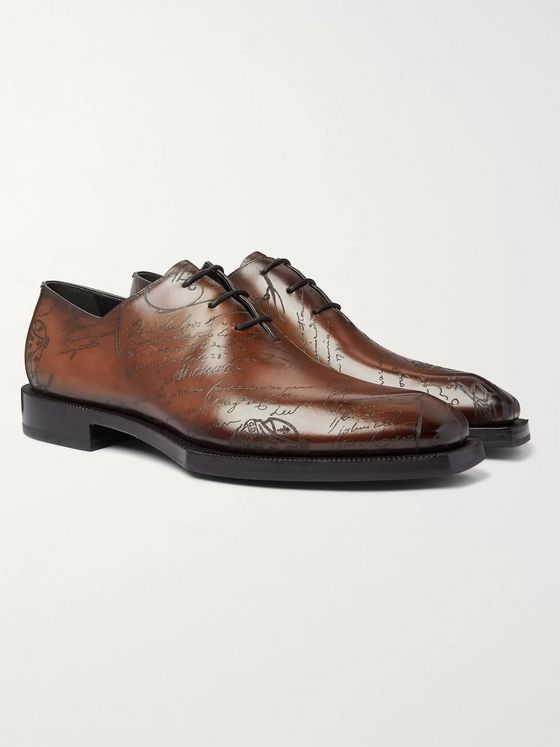Berluti Alessandro Scritto Leather Oxford Shoes
