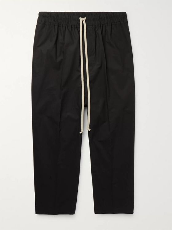 Rick Owens Cropped Cotton-Poplin Drawstring Trousers