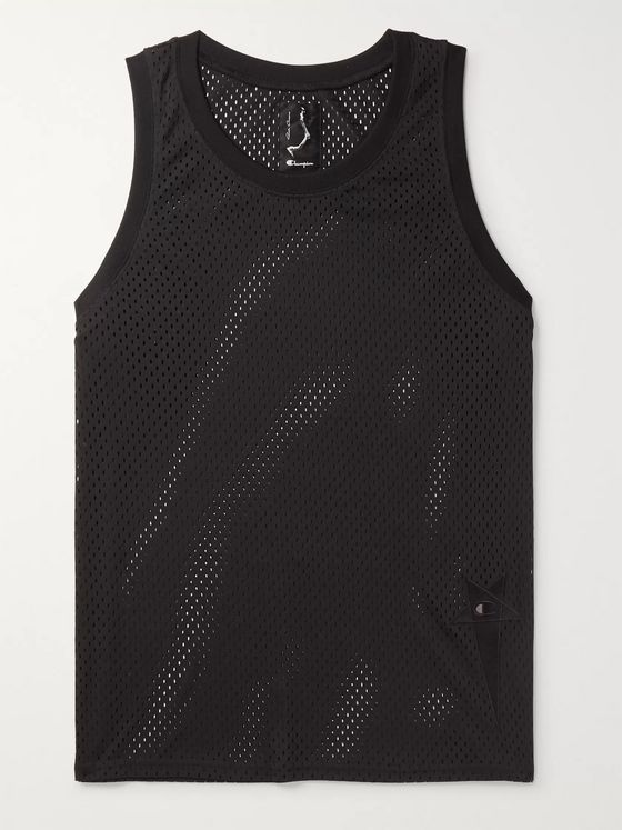 Rick Owens + Champion Logo-Embroidered Mesh Tank Top