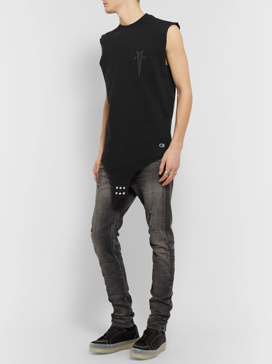 Rick Owens + Champion Logo-Embroidered Loopback Cotton-Blend Jersey Tank Top