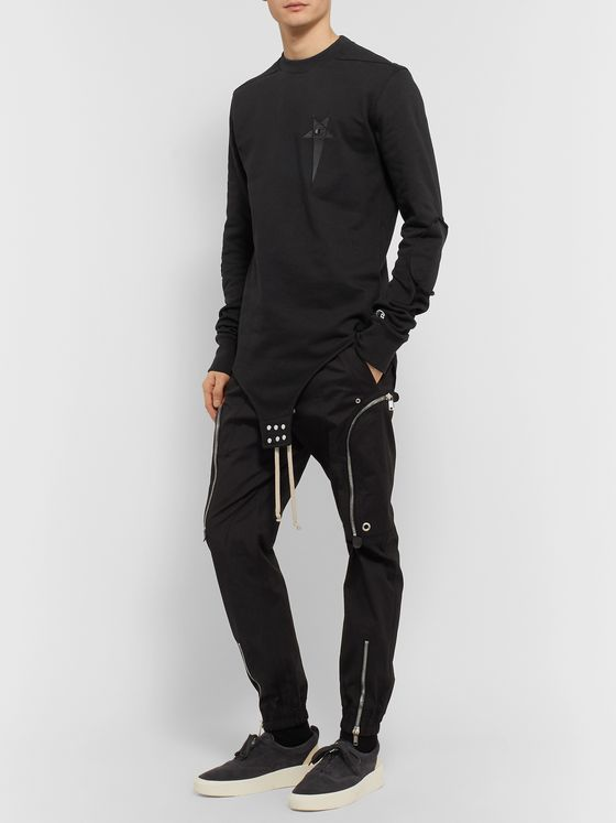 Rick Owens + Champion Logo-Embroidered Loopback Cotton-Blend Jersey Sweatshirt