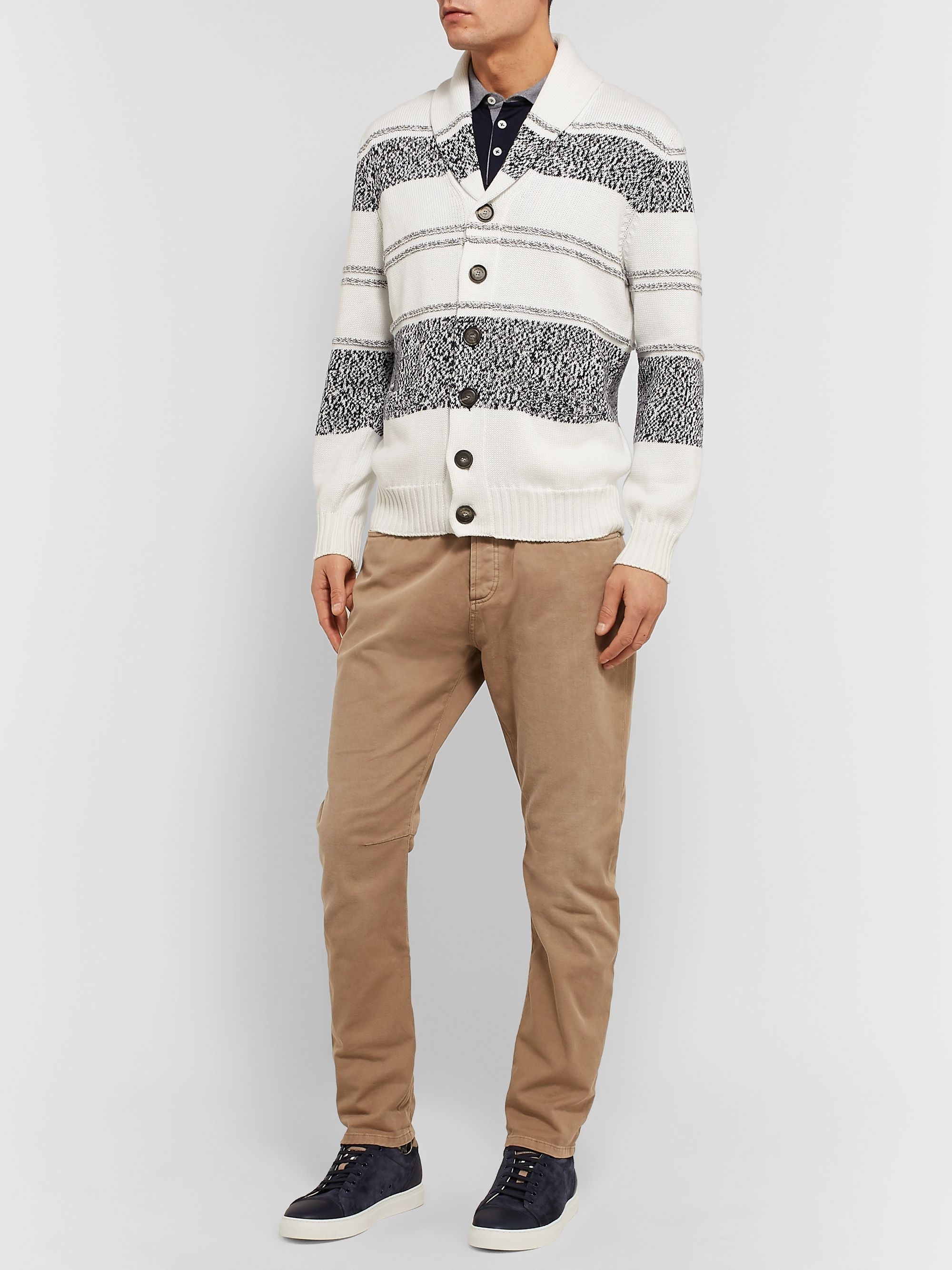 Brunello Cucinelli Shawl-Collar Striped Cotton Cardigan