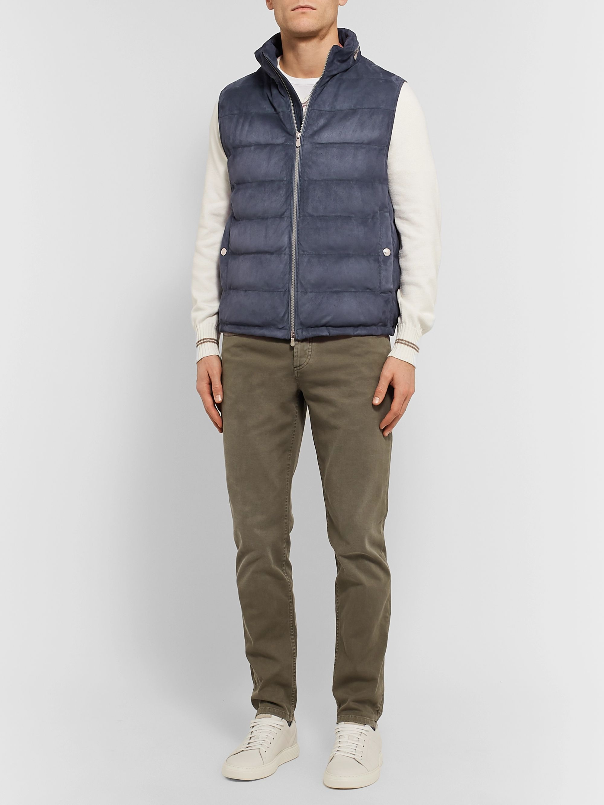 Brunello Cucinelli Quilted Suede Down Gilet