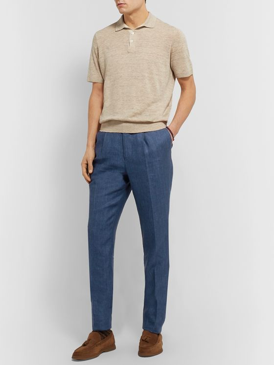 Brunello Cucinelli Tapered Herringbone Linen Drawstring Suit Trousers