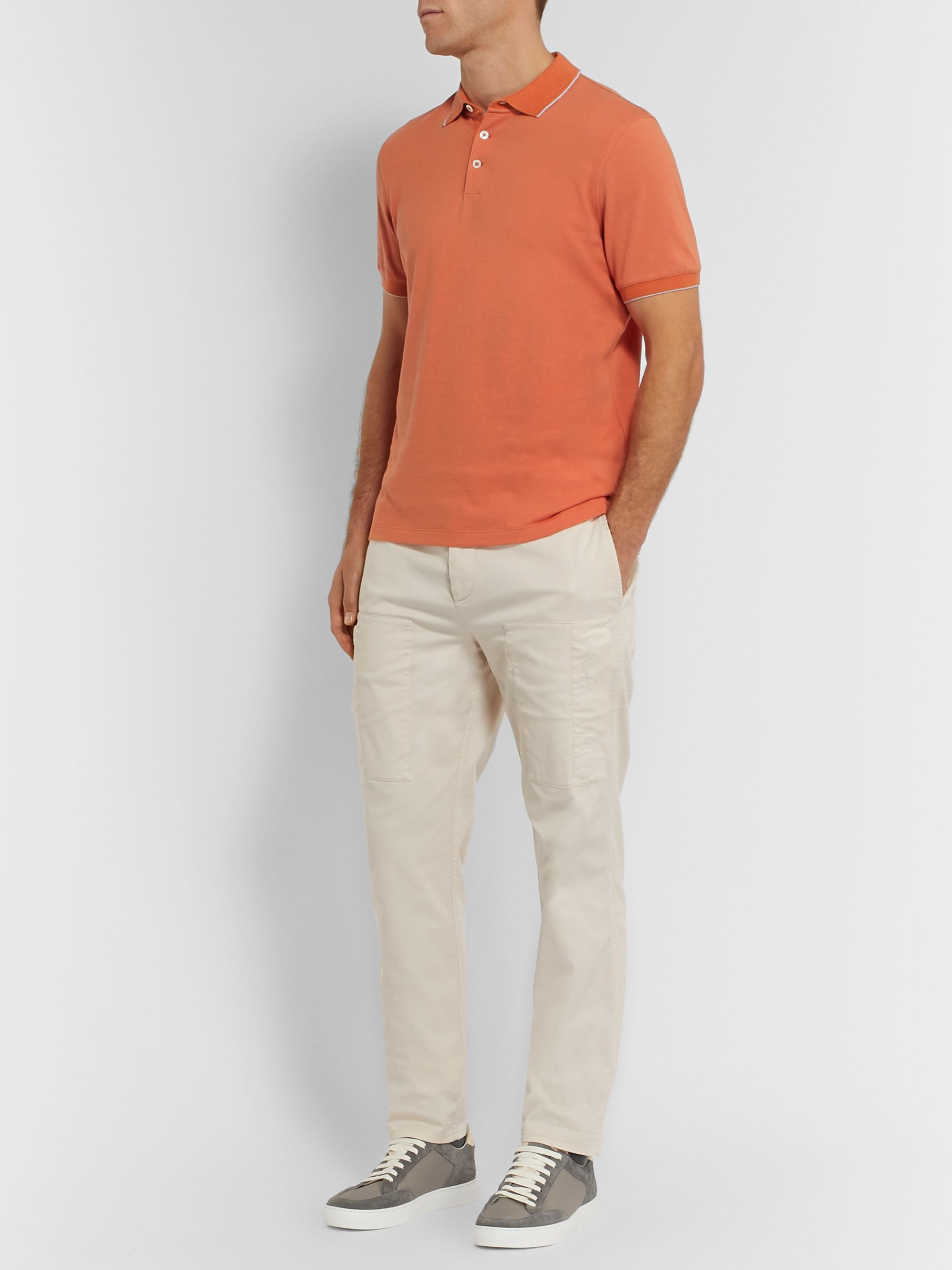 Brunello Cucinelli Contrast-Tipped Cotton-Piqué Polo Shirt