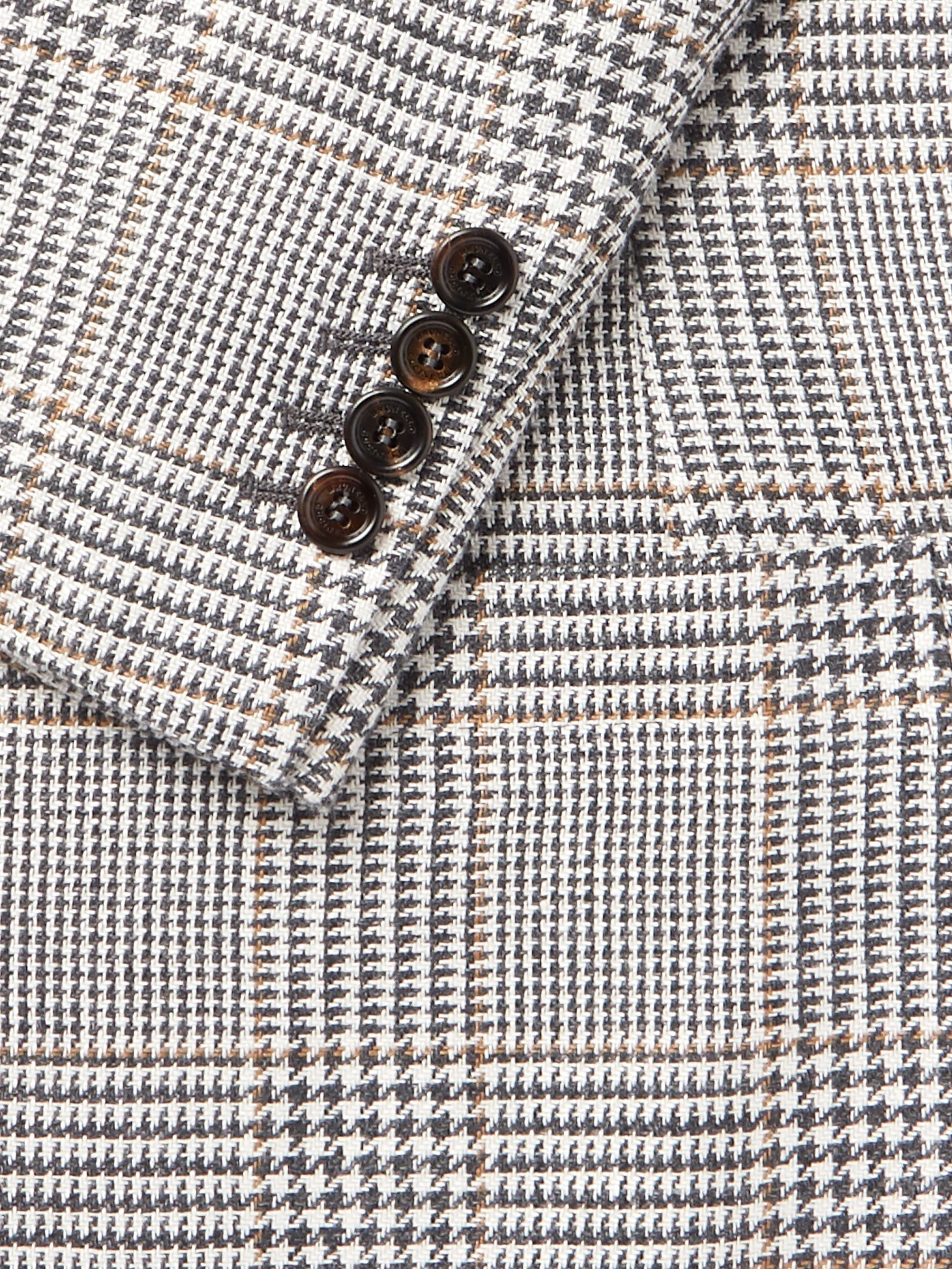 Brunello Cucinelli Charcoal Slim-Fit Unstructured Houndstooth Linen, Wool and Silk-Blend Blazer