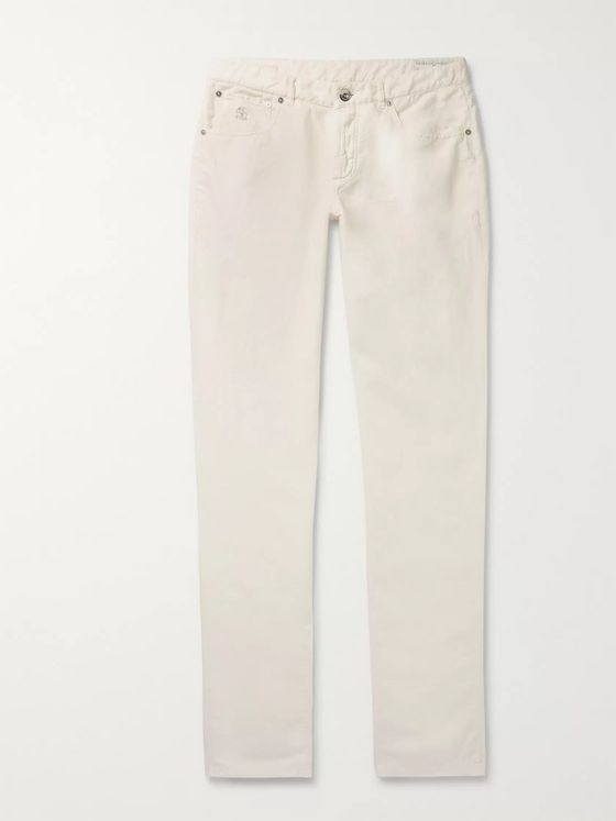 Brunello Cucinelli Slim-Fit Linen and Cotton-Blend Trousers
