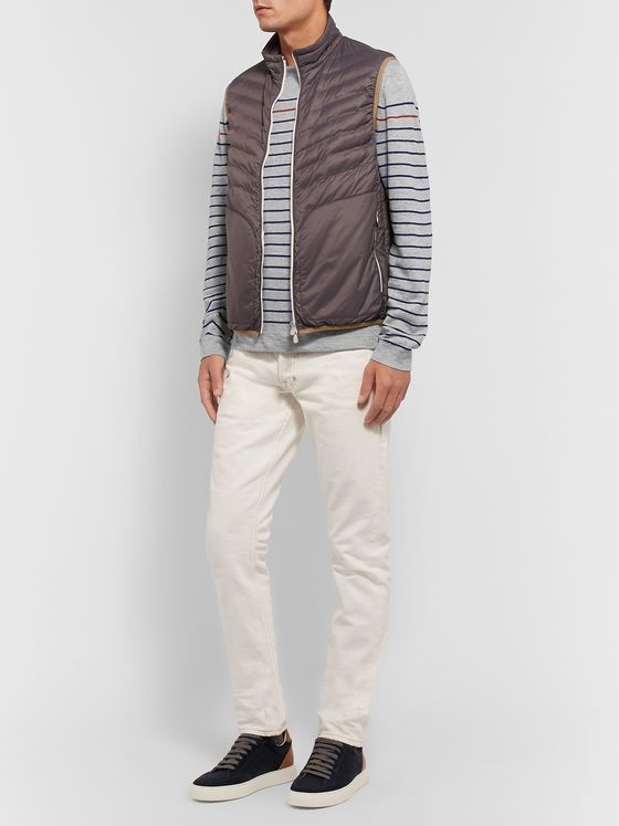 Brunello Cucinelli Striped Mélange Linen and Cotton-Blend Sweater
