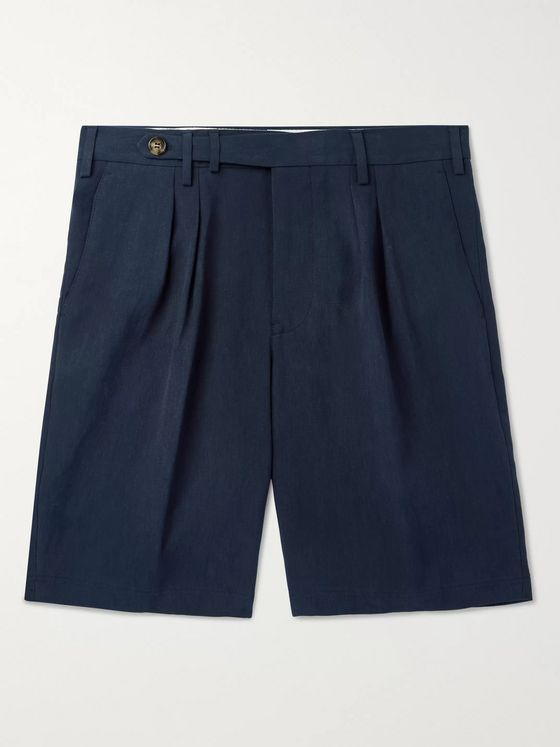Brunello Cucinelli Tapered Pleated Linen Shorts