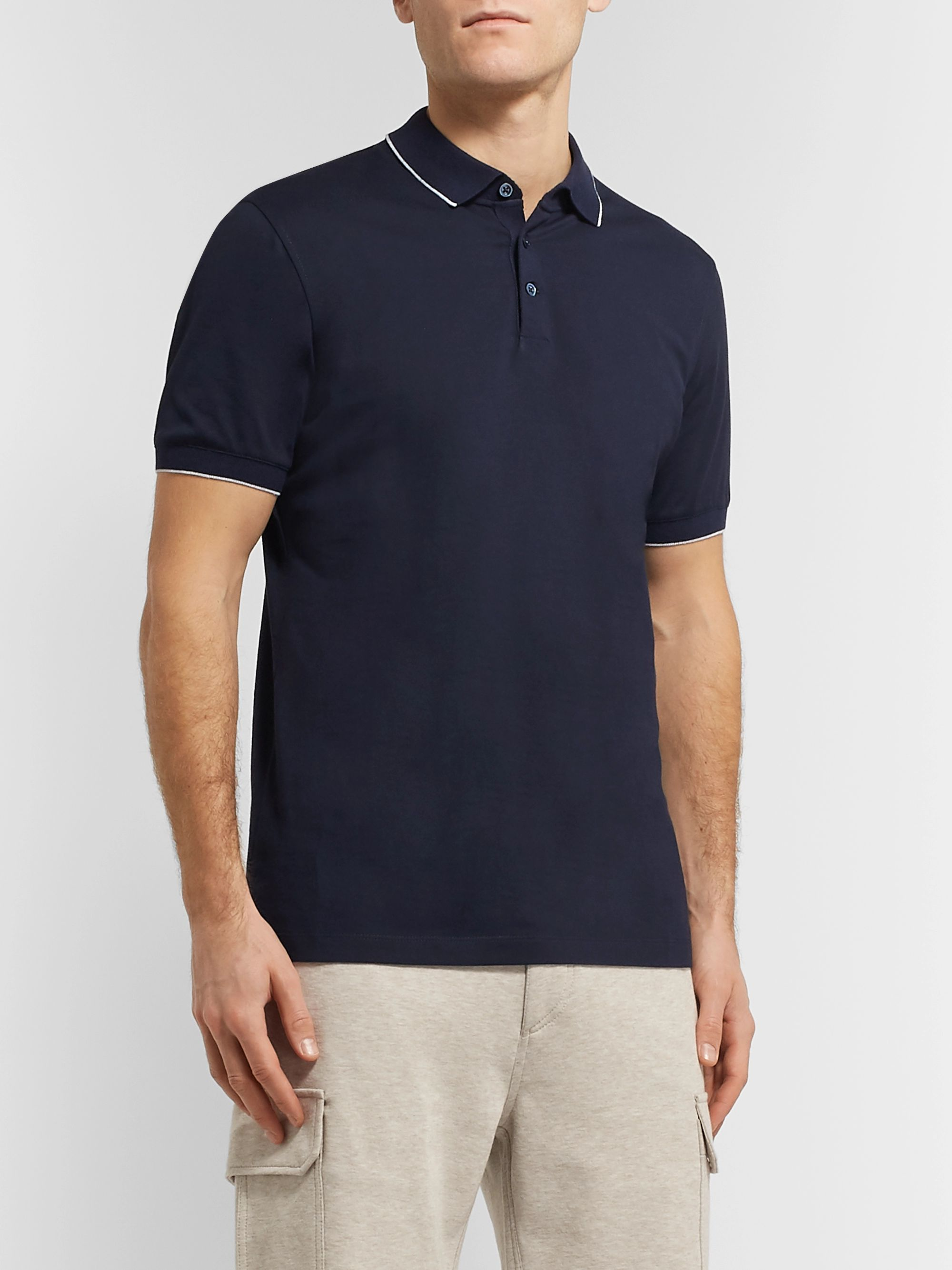 Brunello Cucinelli Slim-Fit Contrast-Tipped Mélange Cotton-Jersey Polo Shirt