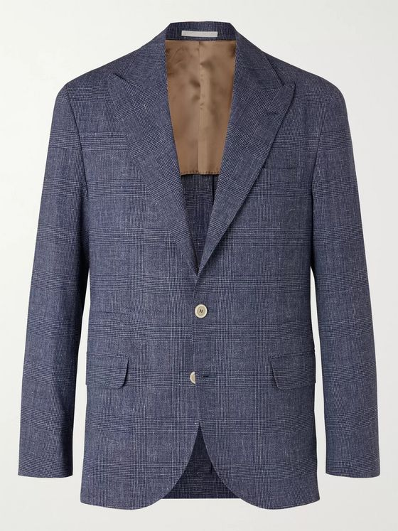 Brunello Cucinelli Unstructured Prince of Wales Wool-Blend Suit Jacket