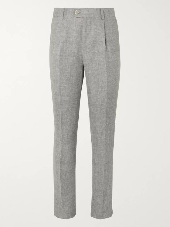 Brunello Cucinelli Grey Slim-Fit Mélange Linen, Wool and Silk-Blend Suit Trousers