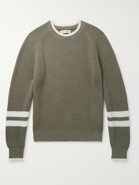 Brunello Cucinelli Striped Ribbed Cotton Sweater