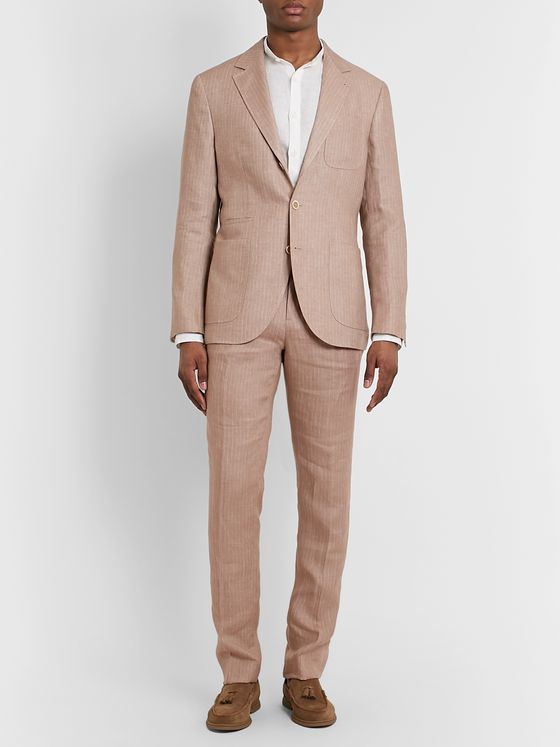 Brunello Cucinelli Pinstriped Linen Suit Jacket