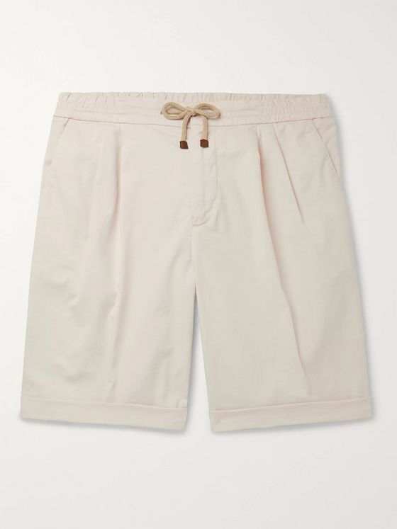 Brunello Cucinelli Slim-Fit Pleated Cotton-Blend Twill Drawstring Shorts