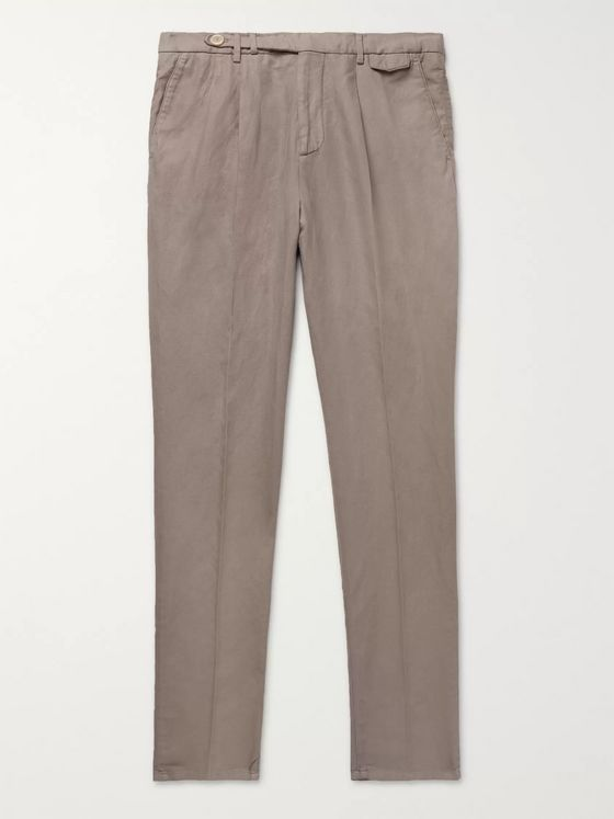 Brunello Cucinelli Navy Tapered Pleated Linen and Cotton-Blend Twill Trousers