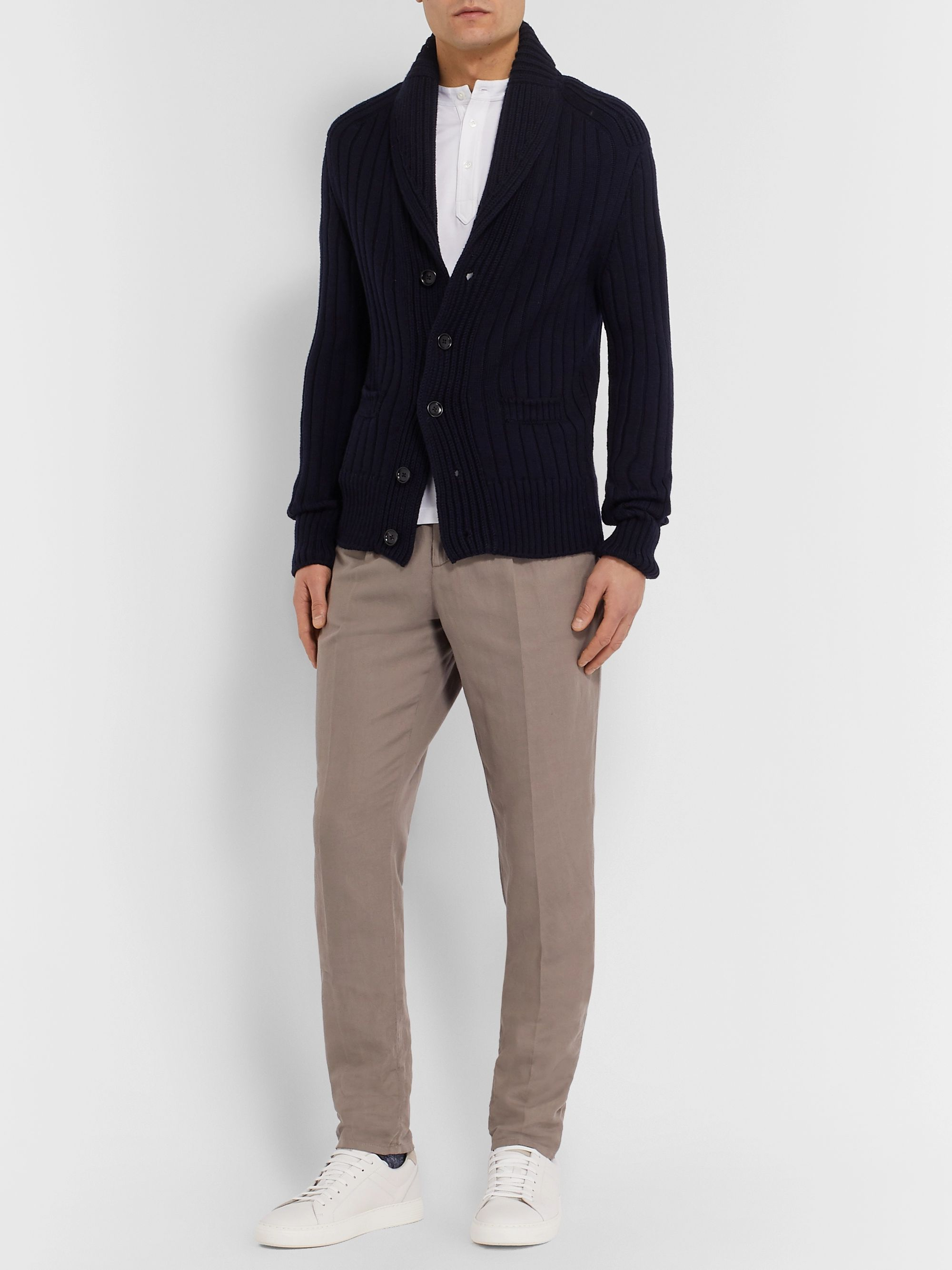 Brunello Cucinelli Taupe Tapered Pleated Linen and Cotton-Blend Twill Trousers