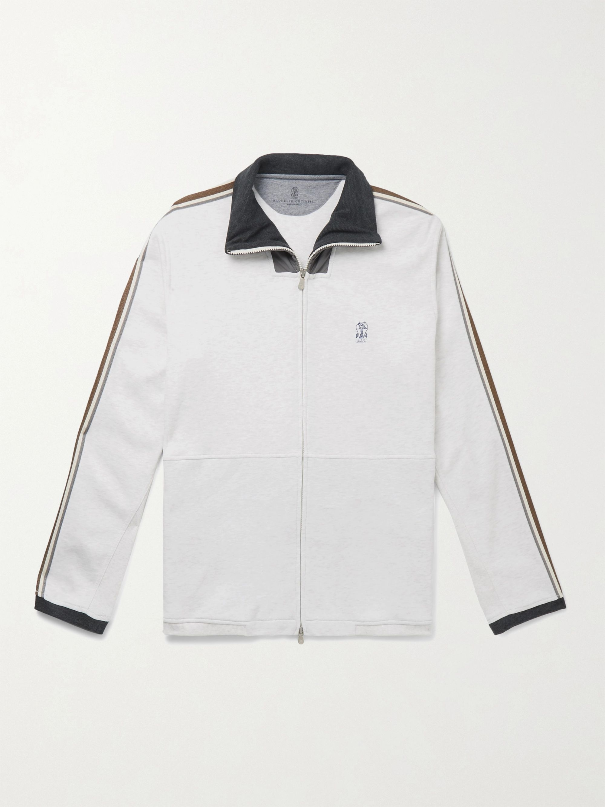 Brunello Cucinelli Webbing and Shell-Trimmed Mélange Cotton-Blend Jersey Track Jacket