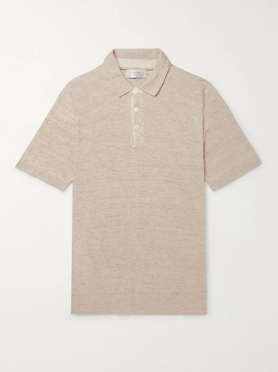 Brunello Cucinelli Slim-Fit Knitted Mélange Linen and Cotton-Blend Polo Shirt