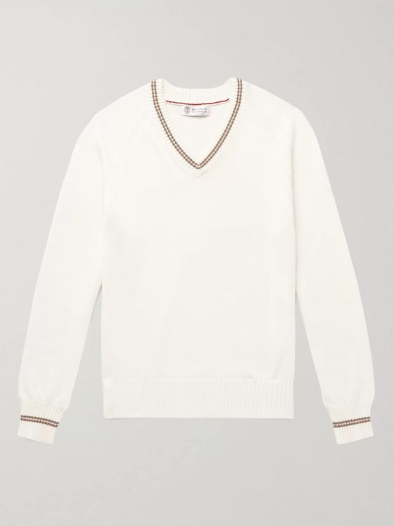 Brunello Cucinelli Stripe-Trimmed Cotton Sweater