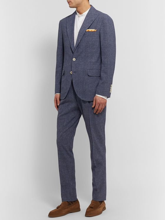 Brunello Cucinelli Tapered Pleated Prince of Wales Checked Wool-Blend Suit Trousers