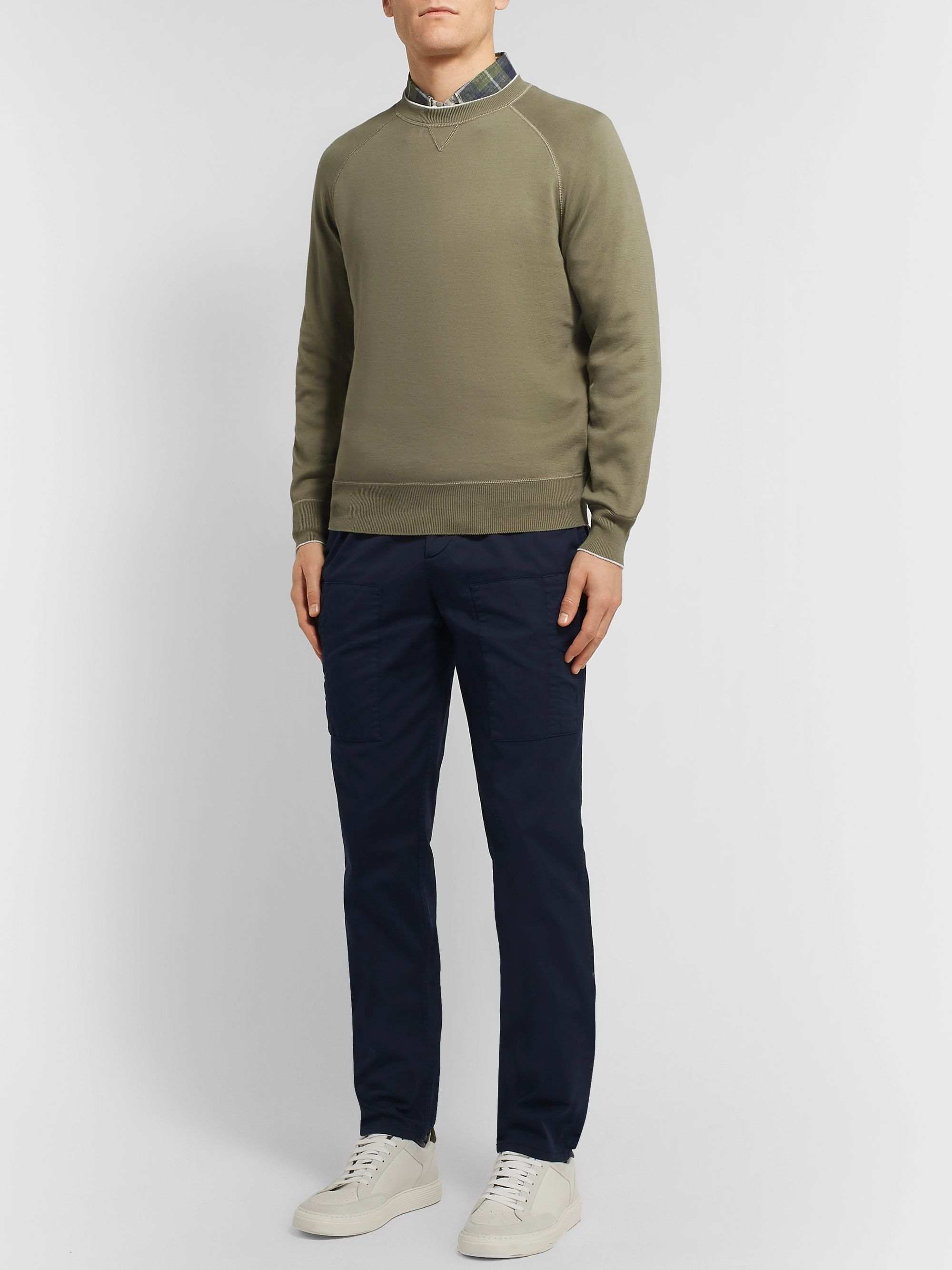 Brunello Cucinelli Contrast-Tipped Cotton-Jersey Sweatshirt