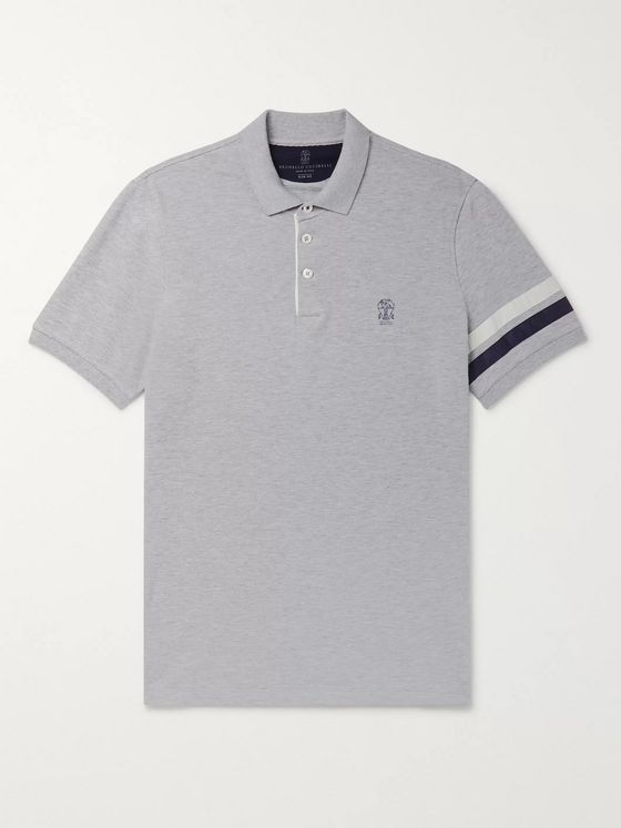 Brunello Cucinelli Slim-Fit Shell-Trimmed Mélange Cotton-Piqué Polo Shirt