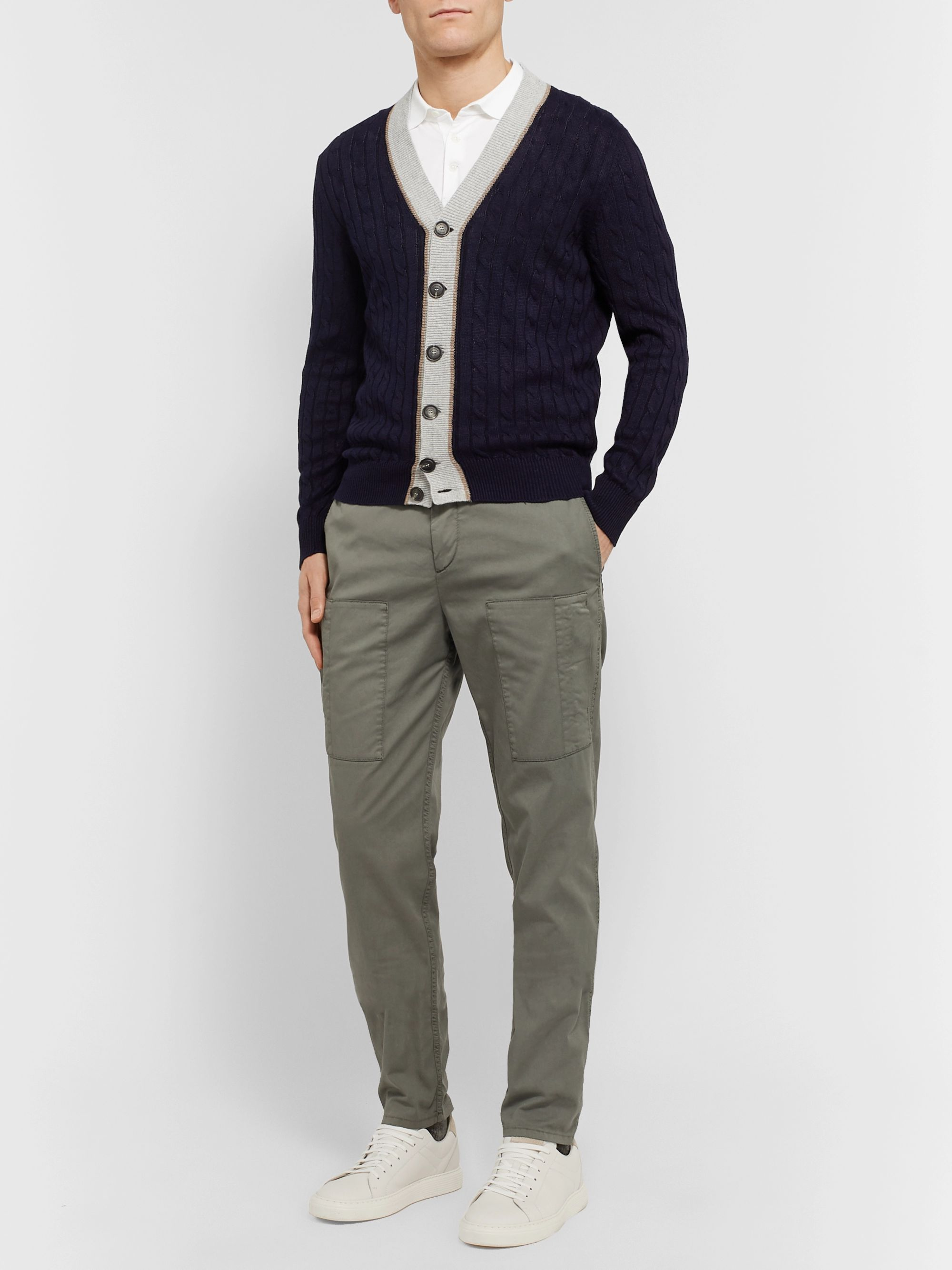 Brunello Cucinelli Striped Cable-Knit Linen and Cotton-Blend Cardigan