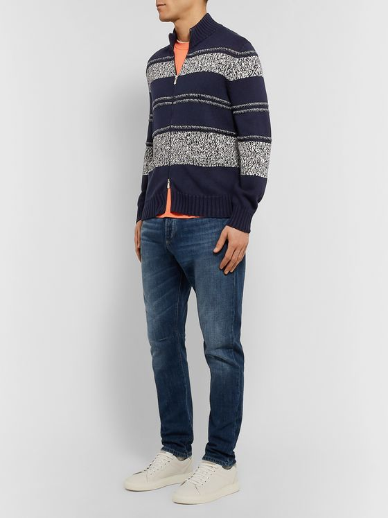 Brunello Cucinelli Striped Mélange Cotton Zip-Up Sweater