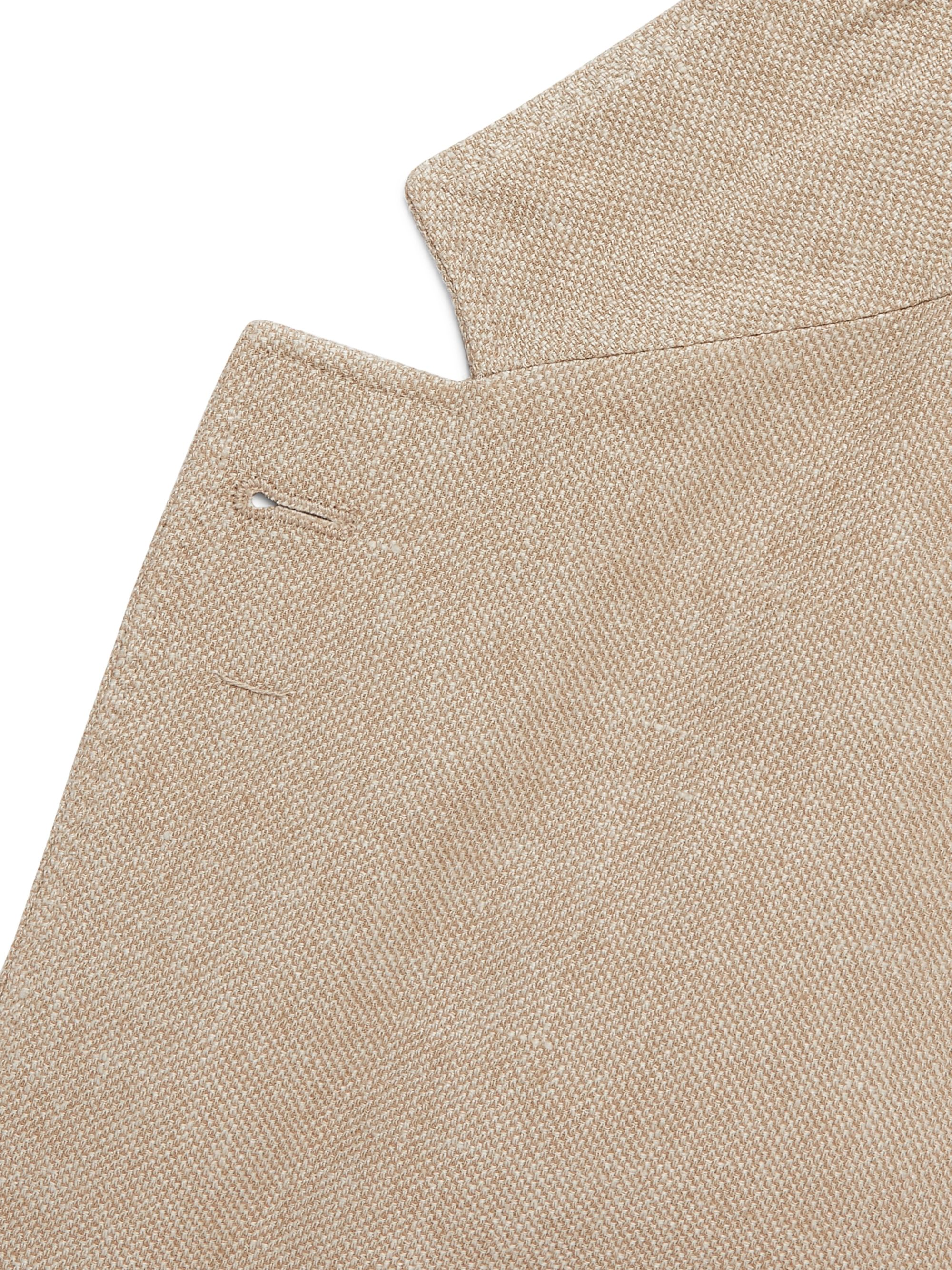Brunello Cucinelli Burgundy Slim-Fit Unstructured Linen, Wool and Silk-Blend Hopsack Blazer